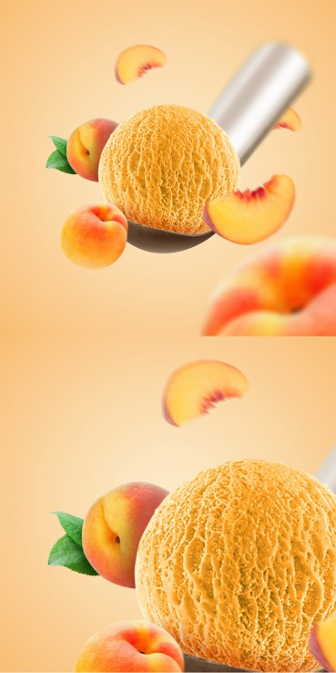 Peach ice cream with peaches