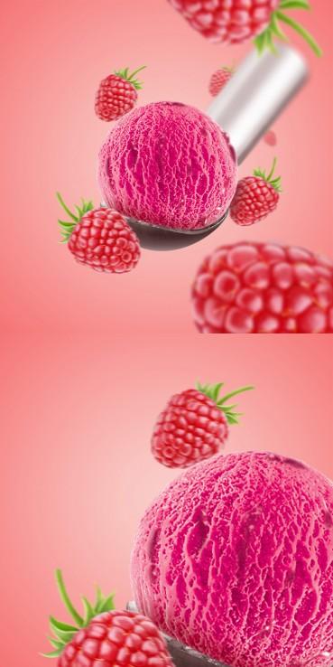 Raspberry ice cream with fruit