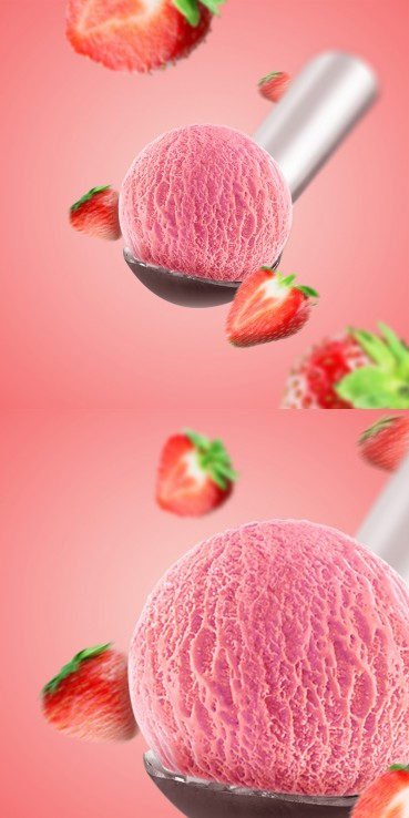 Strawberry ice cream with strawberries