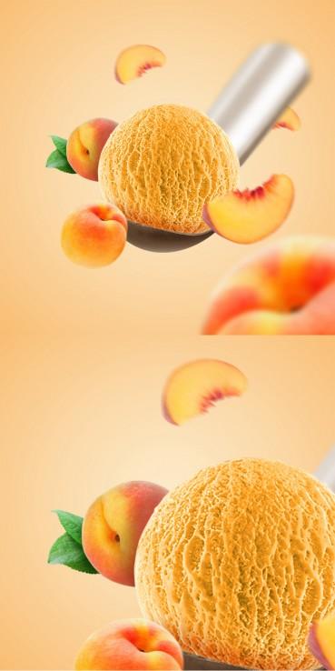 Peach ice cream with peaches