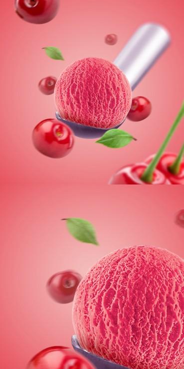 Cherry ice cream with cherries