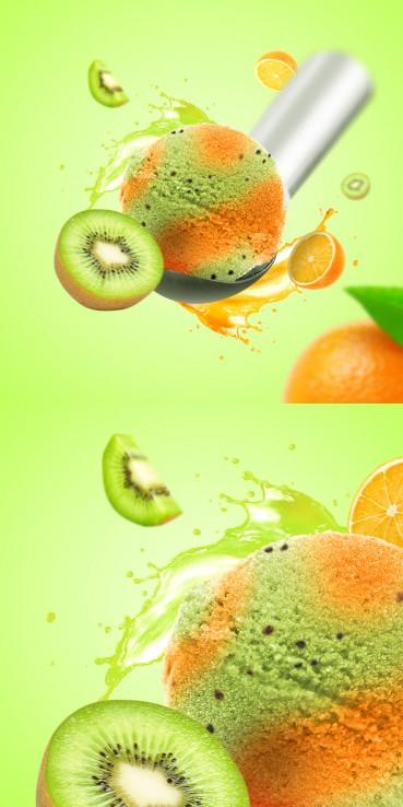 Sorbet pomarańczowy z kiwi