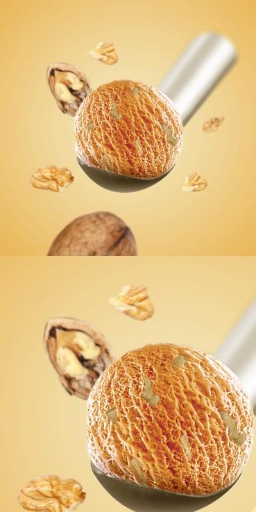 Walnut ice cream with nuts